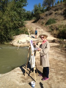Art Holiday Spain Painting by the river