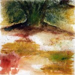 Olive Trees in August - Watercolour painting