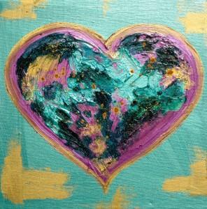 Heart Art LoveHug Pink and Green