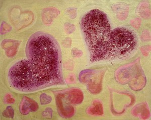 Pink and Gold LoveHug Love Heart Art
