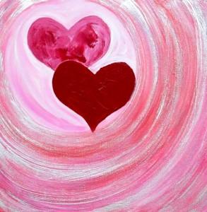 Valentines LoveHugLoveHug - Heart Painting
