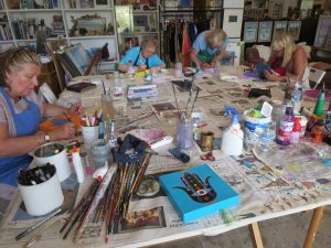 artists working in the studio