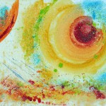 Abstract Painting in oil paints on paper