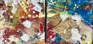 Abstract encaustic artwork detail
