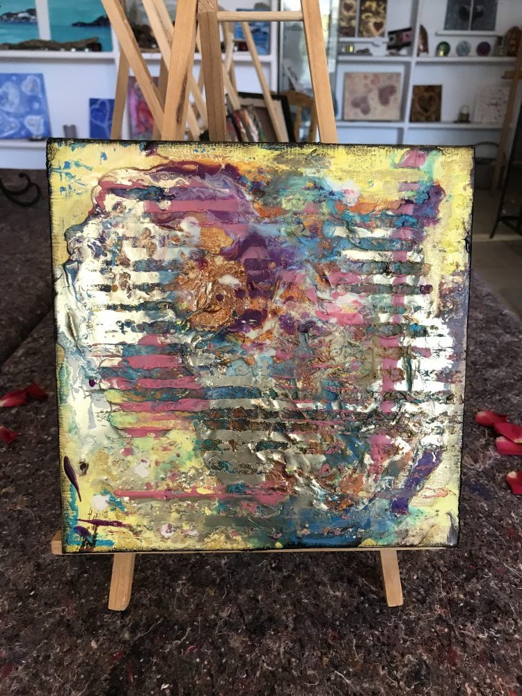 Textured encaustic wax painting